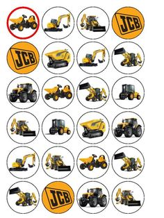 """24 x JCB Digger Tractor Dumper 1.5"""" PRE-CUT Edible Rice Paper CupCake Toppers in Crafts, Cake Decorating 