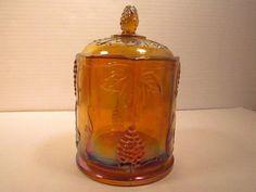 Vintage Amber Indiana Carnival Glass Paneled Grape Harvest Tobacco Biscuit Jar #indianaglass #carnivalglass #amberjar
