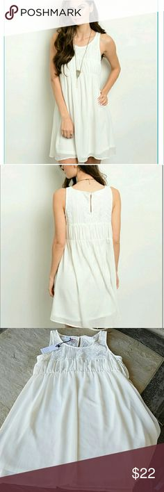 """NWT Baby Doll Dress New with tags, gorgrous off white loose, flowy dress. Brand: loveriche. Size: Large. When laying flat: from top of dress to bottom of dress is approximately  33"""" in length. Across chest from armpit to armpit is approximately  19"""", waist:16.5"""", hips: 19"""". Keyhole accent in back. Fully lined. Shelf & lining: 100% Polyester. No rips, tears, flaws, or defects. Comes from a smoke free home. Final price unless bundled. No trades, no holds, thank you. loveriche  Dresses Mini"""