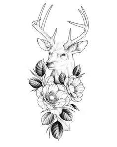 Deer Head Tattoo, Head Tattoos, Body Art Tattoos, Small Tattoos, Sleeve Tattoos, Reindeer Tattoo, Farm Tattoo, Cup Tattoo, African Tattoo