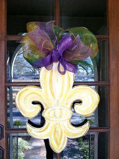Fabulous for my sweet friend Kennon, Fleur de Lis Door Hanger by BronwynHanahanArt on Etsy, $45.00