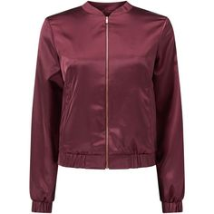 Miss Selfridge Satin Bomber Jacket , Burgundy (£30) ❤ liked on Polyvore featuring outerwear, jackets, burgundy, zip bomber jacket, satin slip, purple jacket, flight bomber jacket and burgundy jacket