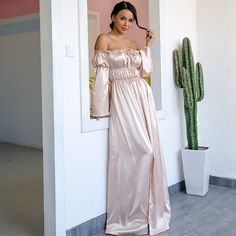 b2b2af28c0 Yissang Off Shoulder Maxi Dress Sexy Long Dresses Ladies High Backless Cut  Out Party Night Satin Split Shift Dress Vestidos