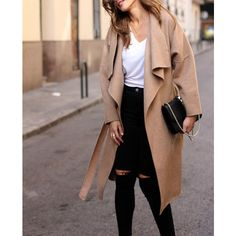 Oversized Waterfall Coat Outfit Made ($53) ❤ liked on Polyvore featuring outerwear, coats, waterfall coat, wrap coat, brown coat, brown trench coat and trench coat
