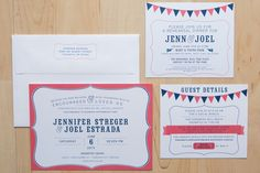 Circus Themed Wedding Set: Coral and Navy blue by Milk & Ice Cream Design