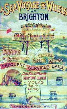 Volk's Brighton to Rottingdean Seashore Electric railway. A 'sea voyage on wheels' on the Daddy Long Legs, Brighton, England. Posters Uk, Train Posters, Railway Posters, Poster Poster, Brighton Sea, Brighton And Hove, Brighton England, Brighton Rock, Brighton Belle