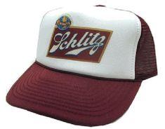 f8183127951 Vintage Schlitz Beer Trucker Hat Mesh Hat Snap Back Hat Maroon Schlitz  Beer