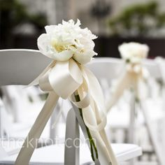 Simple arrangements of a few ribbon-tied peonies - I love these - the flowers, the ribbon color