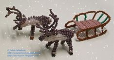 Free detailed tutorial with step by step photos on how to make a sledge out of seed beads and wire. Great for beginners! Ornament Crafts, Beaded Ornaments, Seed Bead Earrings, Seed Beads, Free Beading Tutorials, Beaded Animals, Little Flowers, Stuffed Animal Patterns, Beads And Wire
