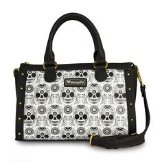 """Loungefly black and white sugar skull duffle purse.Faux leather handbag.Dual faux leather handles with approximately 5"""""""" drop.Printed day of the dead sugar skull details.Top zipper closure.Black linin"""