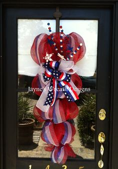 Red, White, and Blue Door Swag great for Memorial Day and 4th of July