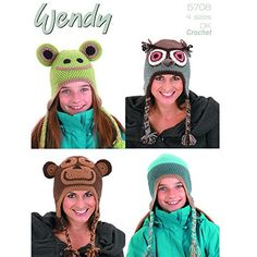 Wendy Unisex Animal Hats CROCHET DK PATTERN Choice of Two  5708 Frog Monkey Owl Hats *** Continue to the product at the image link.Note:It is affiliate link to Amazon.