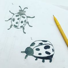 Soon to be a 3D print pick the one I should do ( 1 ) or number ( 2 ) #graphicdesign #thumbnailsketch #insects #pencildrawing #3dprinting #collegelife #ladybug by the.reba