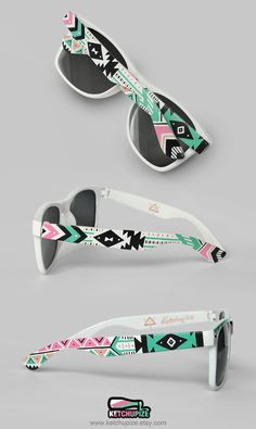 Sunglasses - Aztec print Tribal trend fashion sunglasses unique hand painted - pastel pink mint natural black. €37.00, via Etsy.