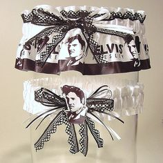 85415d34b17bc Wedding garter set The ORIGINAL ELVIS at your WEDDING garters black and  white lace. Prom