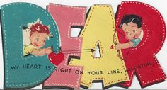 VINTAGE VALENTINES CARD - Reminds me of Mama Dear & Papa Dear