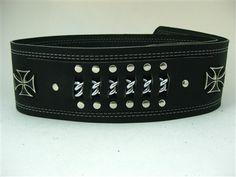 Black Leather Guitar Strap- Biker Maltese Cross and Chain
