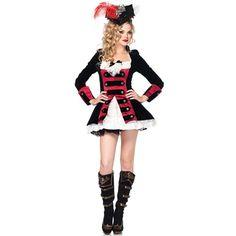 Make Me Chic - 83792 Charming pirata Capitão Halloween Costume VERMELHO