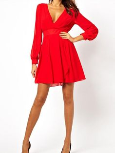 Cool Short Red Dress Red Front & Back V Neck Long Sleeve Dress with Ribbon... Check more at http://24shopping.cf/my-desires/short-red-dress-red-front-back-v-neck-long-sleeve-dress-with-ribbon/