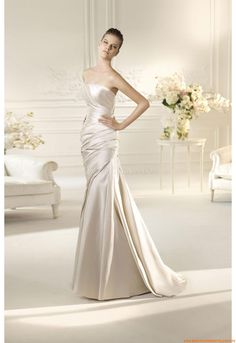 Trägerlos Bodenlang Elegante Brautkleider 2014 aus Taft