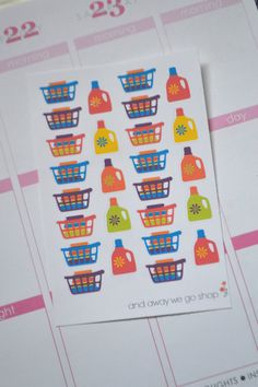 26 Laundry Planner Stickers // Cleaning Planner by andawaywegoshop