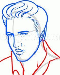 How To Draw Elvis, Elvis Presley, Step by Step, Drawing Guide, by Dawn Elvis Presley Young, Elvis Presley Quotes, Elvis Presley Pictures, Young Elvis, Cartoon Drawing Tutorial, Cartoon Drawings, Easy Drawings, Pencil Drawings, Pencil Sketching