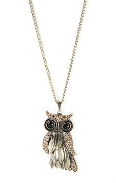 Deb Shops Long Necklace with Owl Charm $7.50