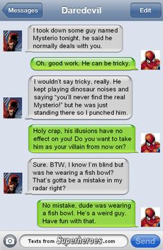 But how is daredevil reading the texts?