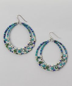 Blue  Silver Beaded Hoop Earrings