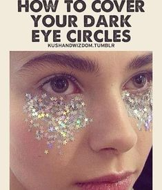 We know sleep during your period can be hit or miss. Try this easy DIY tutorial to cover dark circles. Just takes glitter, dark circles and a dream. Dark Eye Circles, Covering Dark Circles, Pink Lady, Concealer, Dark Eyes, Thats The Way, Look At You, Just For Laughs, Make Me Smile