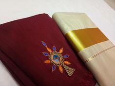 Blouse Back Neck Designs, Sari Blouse Designs, Kasavu Saree, Kerala Saree, Mirror Work, Hand Embroidery, Stitching, Blouses, Models