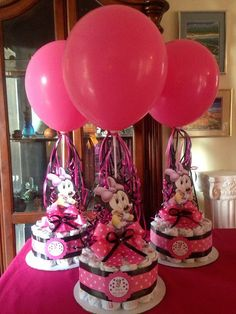 Minnie Mouse Baby Shower Diapers Centerpiece by designsbyemilys