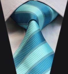 Striped Silk Ties for Men Sharp Dressed Man, Tie And Pocket Square, Dress For Success, Silk Ties, Aqua Blue, Blue Stripes, Men Dress, Mens Fashion, Classic
