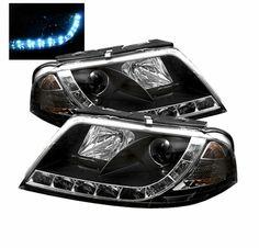 Spyder 01-05 VW Passat B5 LED DRL Strip Projector Headlights - Black