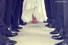 bridal party - bride with groomsmen