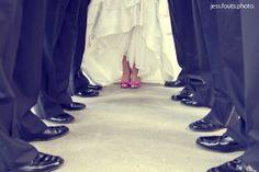bridal party - bride with groomsmen