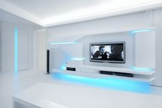 Designed by Next Level Studio. White Apartment is a private residence in Uherske Hradiste, Czech Republic which has amazing futuristic design Futuristisches Design, Tv Wall Design, Futuristic Interior, Futuristic Design, Futuristic Bedroom, Studios Architecture, Architecture Design, Home Room Design, House Design