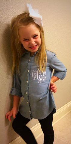 Girls Chambray Button Down Tunic Top. Absolutely adorable shirt for the fall! With monogram! by SewFancyGirls on Etsy