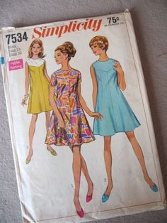 Simplicity 7534 Vtg sewing pattern 1968 misses' by fuzzandfu on Etsy