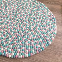 Felt Ball Rug - Mint and Musk You are in the right place about small rugs fuzzy Here we offer you th Felt Ball Rug, Felt Ball Garland, Crochet Baby Jacket, Pom Pom Rug, Cheap Carpet Runners, Diy Carpet, Clothes Crafts, Crochet For Kids, Diy Crochet
