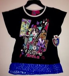 Monster High Girls Size 7 8 Shirt New with Tags New Style Top   eBay