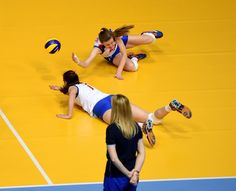 Junior women of Serbia doing their best to save the ball.