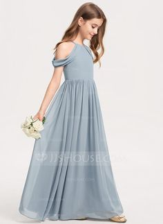 JJsHouse A-Line Scoop Neck Floor-Length Chiffon Junior Bridesmaid Dress With Ruffle Kids Bridesmaid Dress, Dusty Blue Bridesmaid Dresses, Wedding Dresses With Flowers, Flower Girl Dresses, Flower Girls, Robes Pour Juniors, Dusty Blue Dress, Junior Dresses, Pageant Dresses