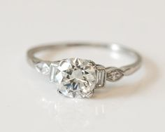 Circa 1920s Platinum Diamond Engagement with by VermaEstateJewels