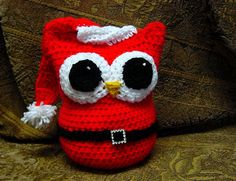 Santa, Santa Owl, Santa Claus, stuffed owl, Christmas Owl, Origami, hoot owl, horned owl, great owl, amigurumiowl crochet, crocheted owl - item for purchase