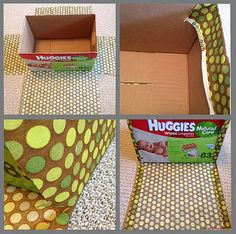 Cover boxes with fabric for cheap storage bins.