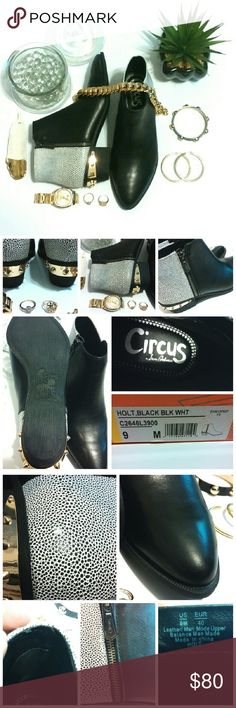 💎NIB Circus by: Sam Edelman Holt Blk/Wht Booties These brand new booties are beyond hot!  The upper is a mixture of genuine black leather, and a white with black dots man-made material in the back.  There are shiny gold spikes around the heel, and a side zipper.  On one very small area in the back, some of the black dots are missing.  There are a couple of tiny places were the inside lining is lifting (see pic).  On one of the toes, there are some minor nicks (can't tell). These amazing…