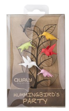 Qualy Hummingbird Party Glass Tag