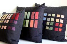 Modern Colorblock Throw Pillows. Quilted Decorator Pillows.