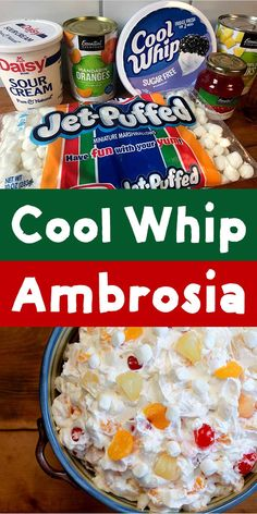 This recipe for Cool Whip Ambrosia Fruit Salad is about as quick as they come. If you have 6 minutes and 6 ingredients you can mix up this simple but super delicious low calorie dessert. Dessert Salads, Fruit Salad Recipes, Yogurt Recipes, Pear Dessert, Dessert Recipes, Fruit Salads, Dessert Ideas, Dinner Recipes, Ambrosia Salad